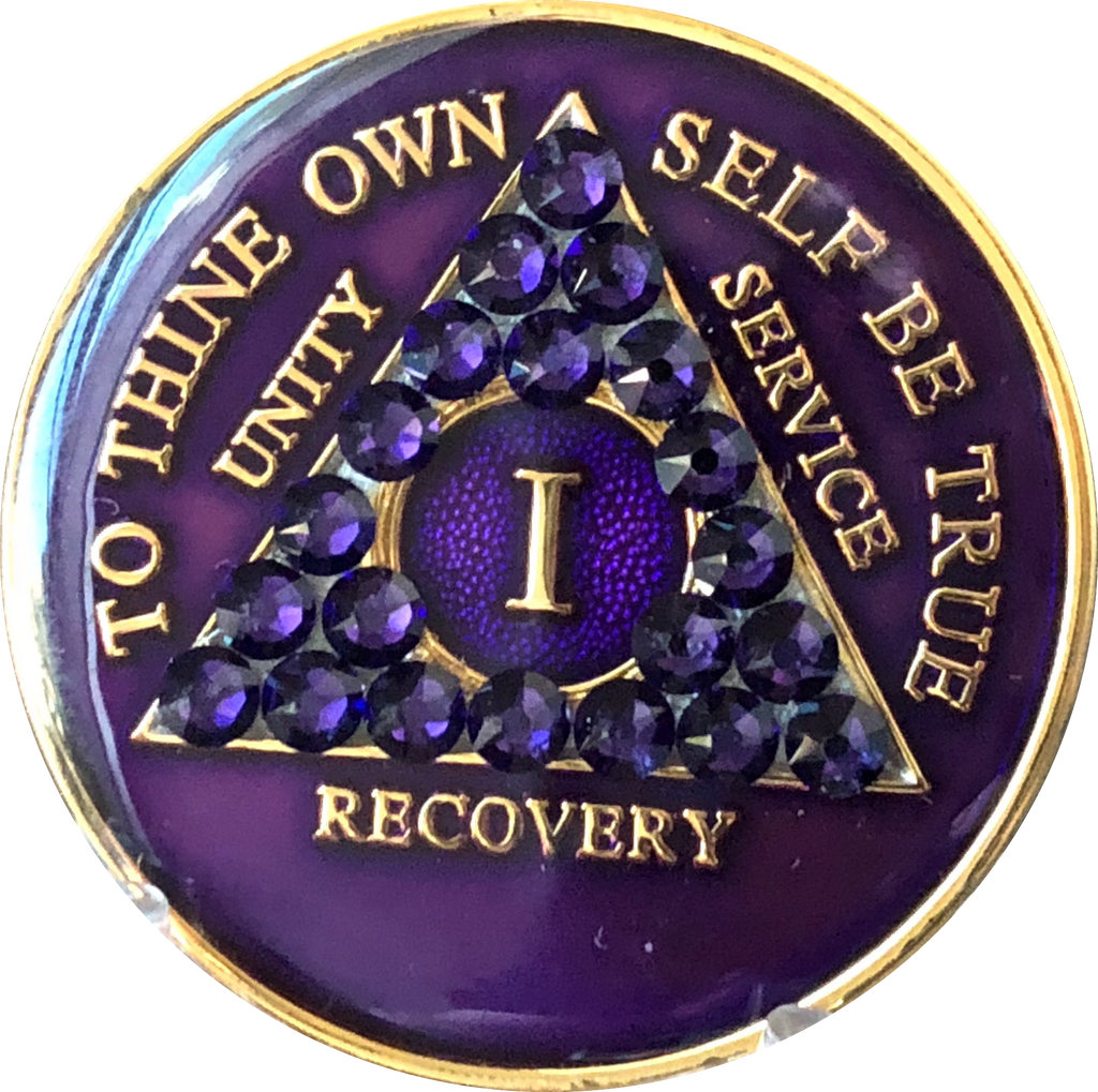 Display AA Purple Glitter 28 Year Coin Tri-Plate Alcoholics Anonymous Medallion