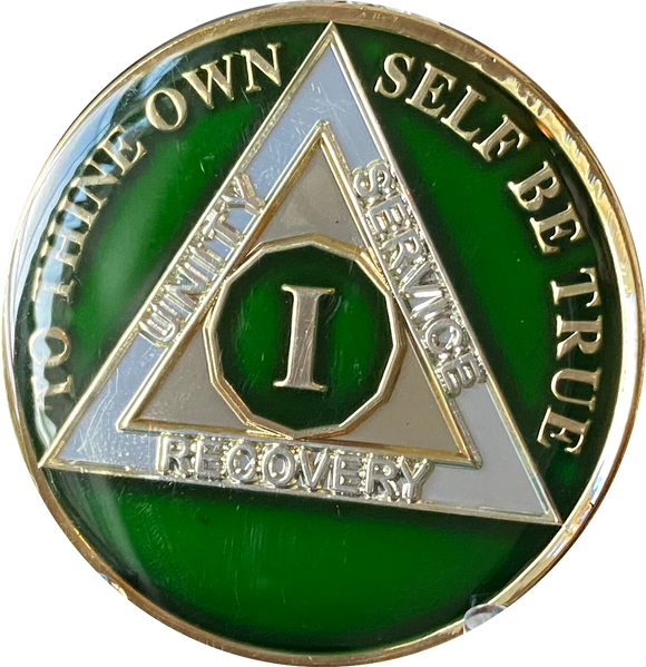 1 Year AA Medallion Metallic Green Tri-Plate Sobriety Chip