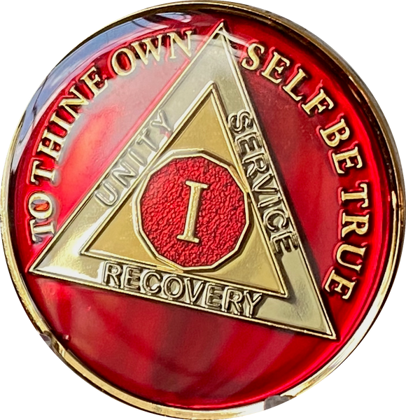 1 - 10 AA Medallion Mandarin Metallic Red Tri-Plate Sobriety Chip