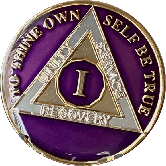 1 - 40 Year AA Medallion Metallic Purple Tri-Plate Sobriety Chip