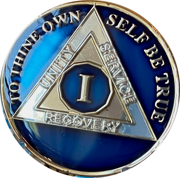 1 - 40 Year AA Medallion Midnight Blue Tri-Plate Sobriety Chip