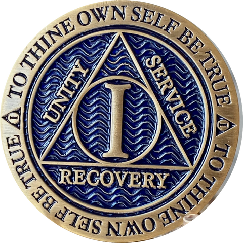 1 Year AA Medallion Antique Bronze and Reflex Blue Color Sobriety Medallion