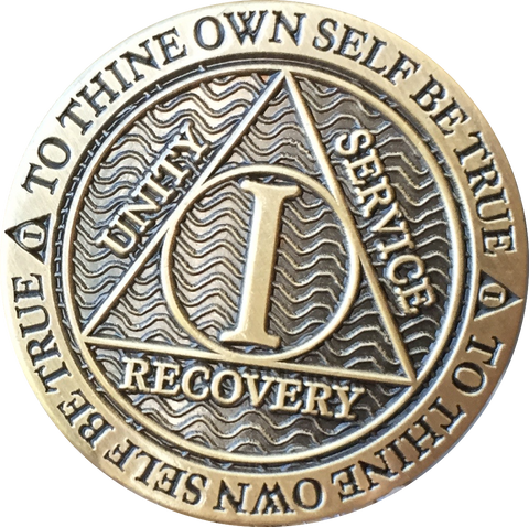 1 - 10 Year Reflex Chocolate Bronze AA Medallion Sobriety Chip
