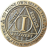 1 Year Reflex Bronze AA Medallion Antique Or Clean Finish Sobriety Chip - RecoveryChip