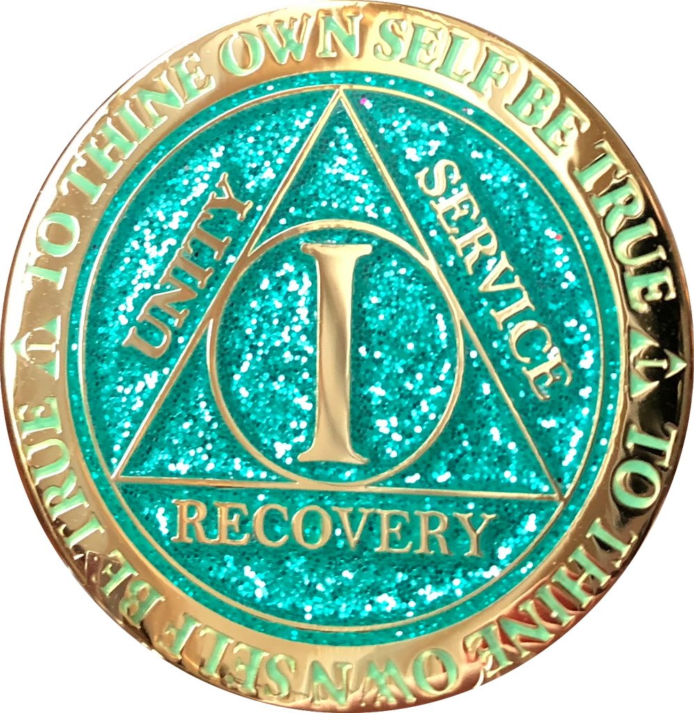1 Year AA Medallion Reflex Glitter Aqua Gold Plated Turquoise Sobriety Chip - RecoveryChip