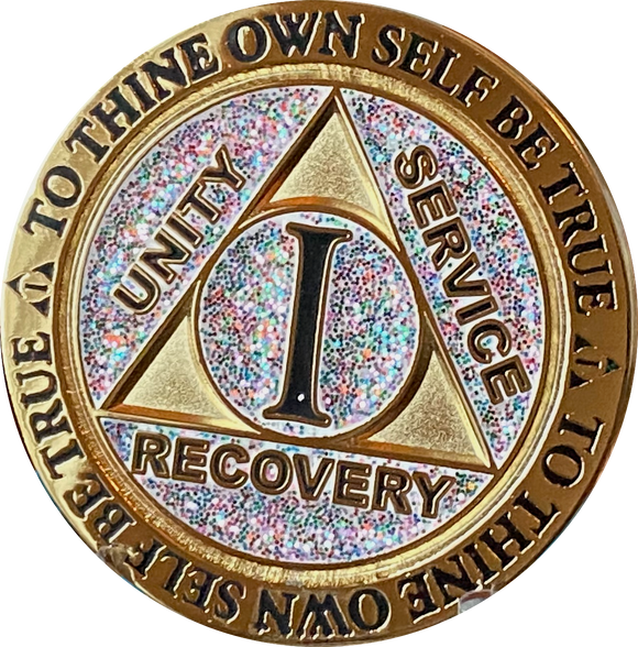1 or 2 Year AA Medallion Reflex Birthday Funfetti Glitter Silver Gold Plated Sobriety Chip