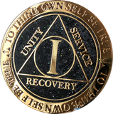 1 Year AA Medallion Reflex Glitter Black Gold Plated Sobriety Chip - RecoveryChip