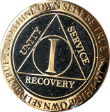 1 Year AA Medallion Reflex Milky Way Glitter Black Gold Plated Sobriety Chip - RecoveryChip