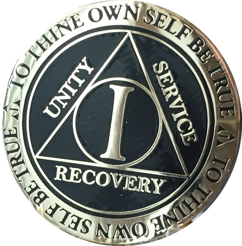 1 Year AA Medallion Reflex Black Gold Plated Alcoholics Anonymous RecoveryChip Design - RecoveryChip