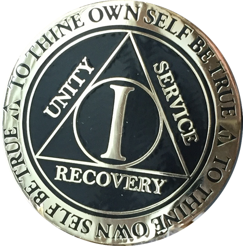 1 Year AA Medallion Reflex Black Gold Plated Alcoholics Anonymous RecoveryChip Design