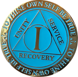 1 Year AA Medallion Reflex Glow In The Dark Gold Plated Blue Sobriety Chip - RecoveryChip