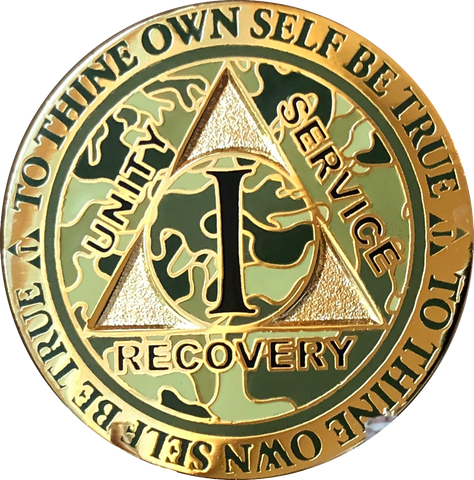 1 2 4 Year Reflex Camo Gold Plated AA Medallion Camouflage Sobriety Chip - RecoveryChip