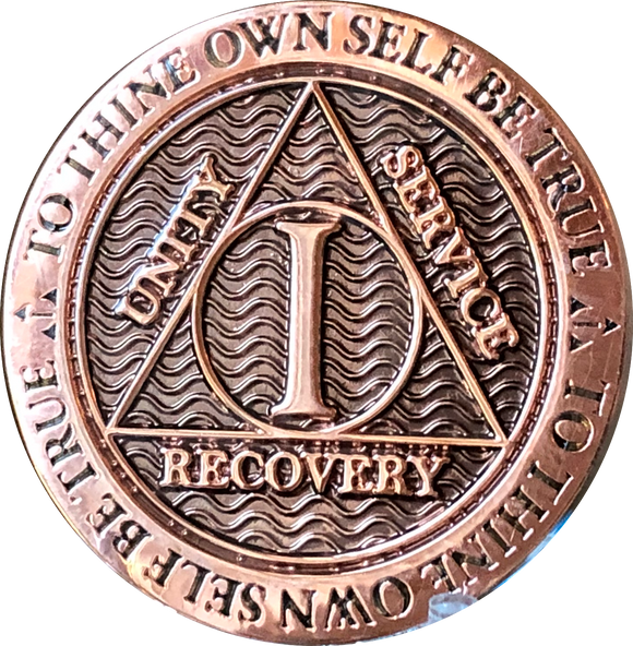 1 Year Copper Plated AA Medallion Reflex Design By Recoverychip.com - RecoveryChip