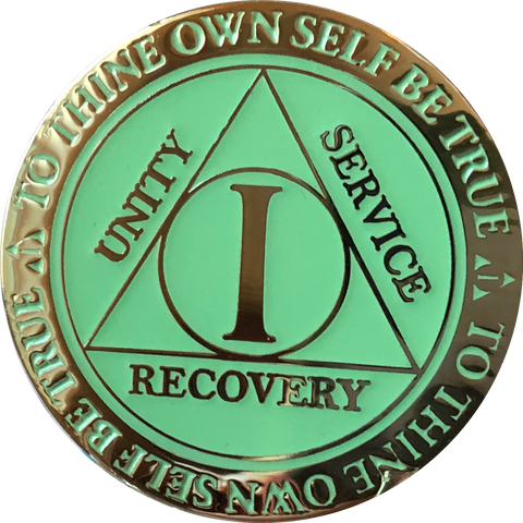 1 Year AA Medallion Reflex Glow In The Dark Gold Plated Green Dayglow Sobriety Chip - RecoveryChip