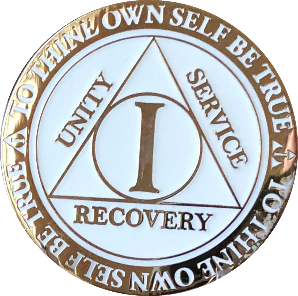 1 or 2 Year AA Medallion Reflex Glow In The Dark Gold Plated Turquoise Sobriety Chip - RecoveryChip