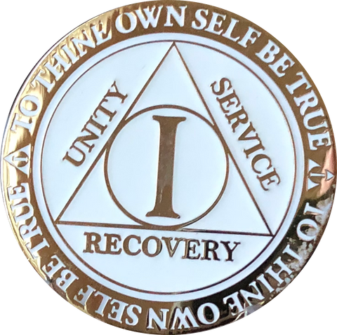 1 2 3 4 5  Year AA Medallion Reflex Glow In The Dark Gold Plated White Sobriety Chip - RecoveryChip