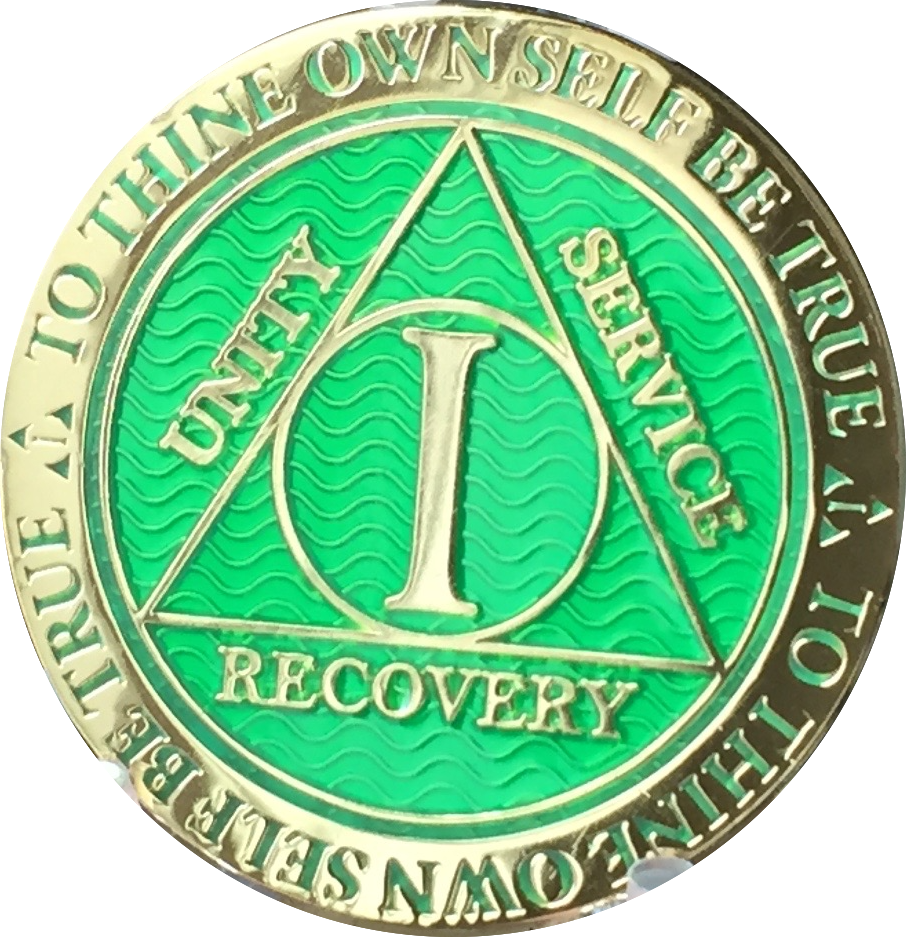 1 Year AA Medallion Reflex Green Gold Plated Alcoholics Anonymous RecoveryChip Design - RecoveryChip