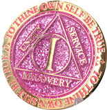 1 Year AA Medallion Reflex Glitter Pink Gold Plated Sobriety Chip - RecoveryChip