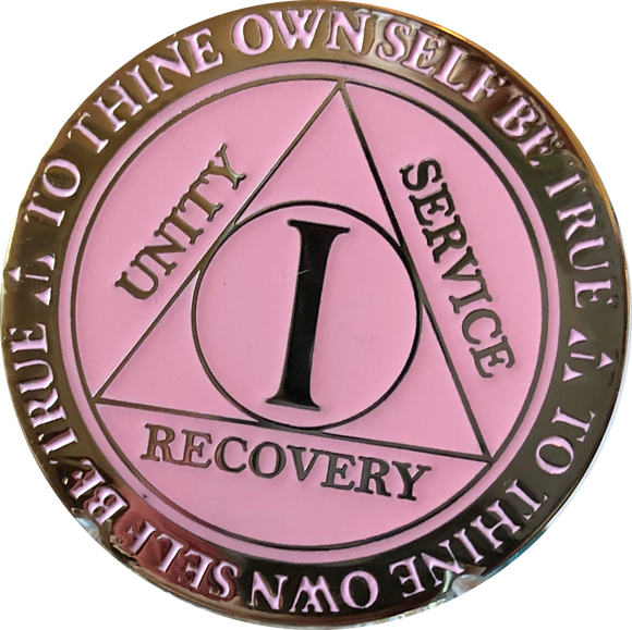 1 Year AA Medallion Reflex Glow In The Dark Gold Plated Pink Sobriety Chip - RecoveryChip