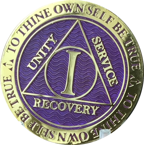 1 Year AA Medallion Reflex Purple Gold Plated Alcoholics Anonymous RecoveryChip Design - RecoveryChip