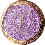 1 Year AA Medallion Reflex Glitter Lavender Purple Gold Plated Sobriety Chip - RecoveryChip