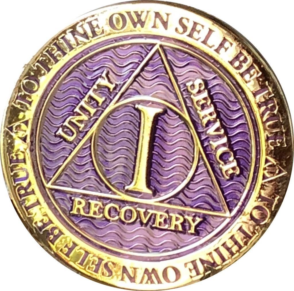 1 - 10 Year AA Medallion Reflex Purple Gold Plated Alcoholics Anonymous - RecoveryChip