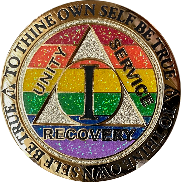 1 2 3 4 5 6 7 8 9 or 10 Year AA Medallion Reflex Rainbow Glitter Sobriety Chip