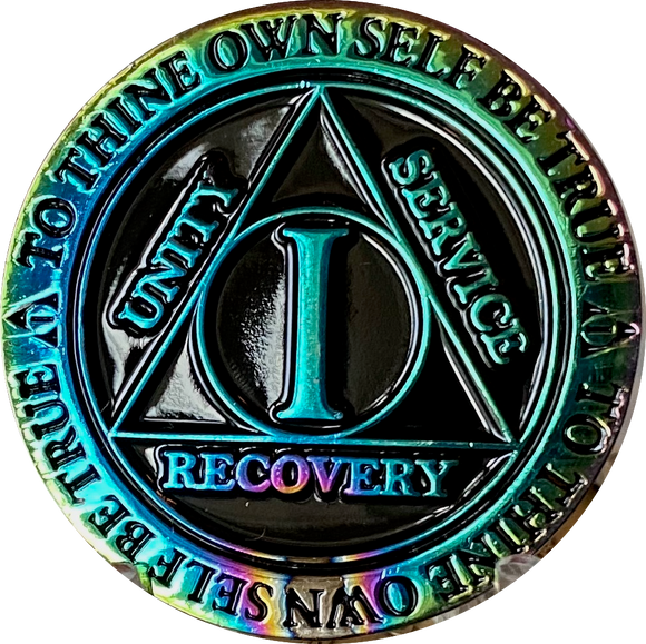 1 2 3 4 5 6 7 8 9 or 10 Year AA Medallion Reflex Rainbow Plated Black Sobriety Chip