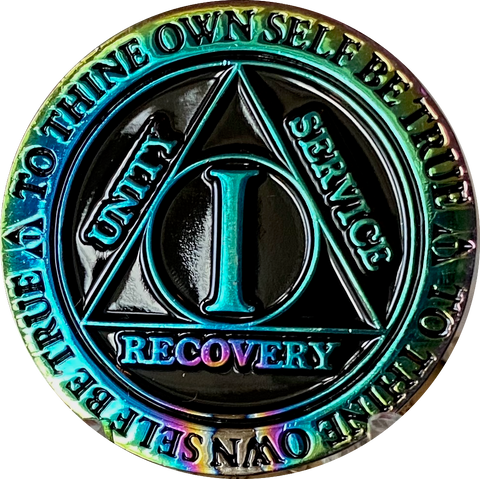 1 or 2 Year AA Medallion Reflex Rainbow Plated Black Sobriety Chip