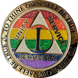 1 2 3 4 or 5 Year AA Medallion Reflex Rainbow Glitter Sobriety Chip