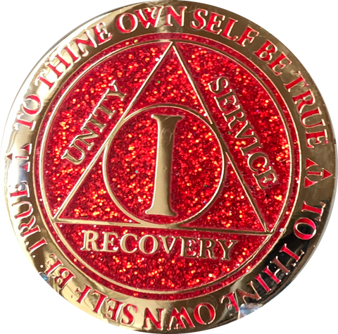 1 Year AA Medallion Reflex Glitter Red Gold Plated Sobriety Chip - RecoveryChip