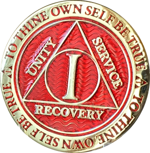 1 - 10 Year AA Medallion Reflex Red Gold Plated Alcoholics Anonymous RecoveryChip Design - RecoveryChip
