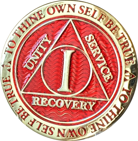 1 - 10 Year AA Medallion Reflex Red Gold Plated Alcoholics Anonymous RecoveryChip Design