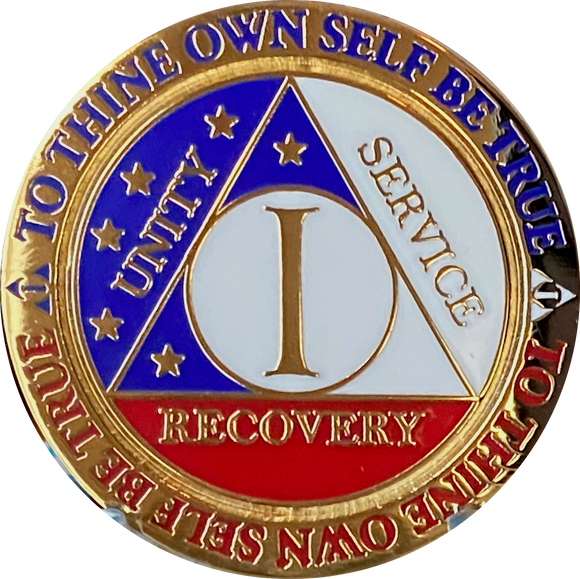 1 Year AA Medallion Reflex Red White & Blue Patriotic Gold Plated Sobriety Chip