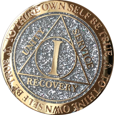 1 Year AA Medallion Reflex Glitter Silver Gold Plated Sobriety Chip - RecoveryChip