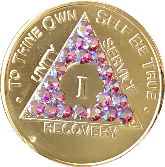 Rose Swarovski Crystal AA Medallion Gold Plated Sobriety Chip Year 1 - 56 - RecoveryChip