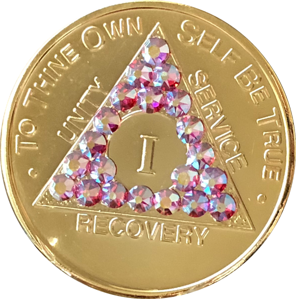 Gold Plated AA Medallion Rose Swarovski Crystal Sobriety Chip Year 1 - 50 - RecoveryChip
