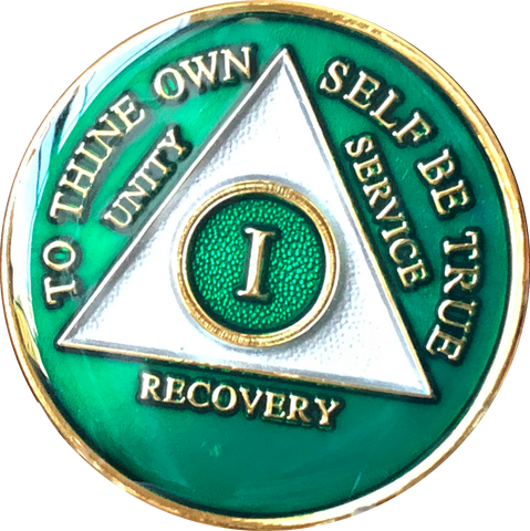 1 - 50 Year Metallic Green Tri-Plate AA Medallion - RecoveryChip