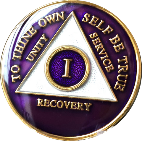 Purple Gold Tri-Plate AA Medallion 24 Hours 18 Month Year 1 - 45 Sobriety Chip - RecoveryChip