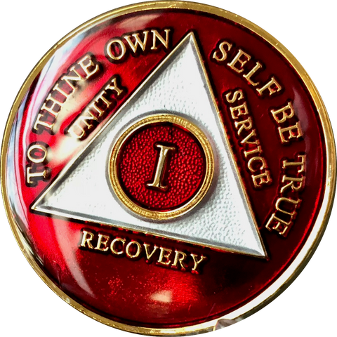 Red Gold Tri-Plate AA Medallion 24 Hours 18 Month Year 1 - 45 Sobriety Chip - RecoveryChip
