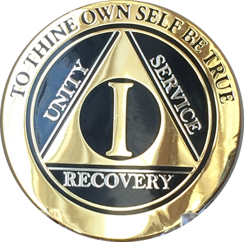 1 Year AA Medallion Elegant Black Gold & Silver Plated Alcoholics Anonymous RecoveryChip Design - RecoveryChip
