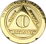 1 Year AA Medallion Gold Plated Beveled Edges Alcoholics Anonymous Sobriety Chip RecoveryChip Design - RecoveryChip
