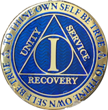 1 Year AA Medallion Reflex Blue Gold Plated Alcoholics Anonymous RecoveryChip Design - RecoveryChip
