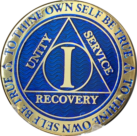 Popular 1 Year AA Medallions Gold Plated Sobriety Chips In Various Colors - RecoveryChip