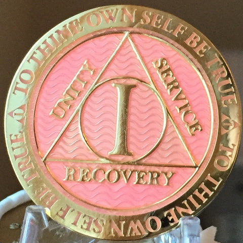 1 Year AA Medallion Reflex Pink Gold Plated Alcoholics Anonymous RecoveryChip Design - RecoveryChip