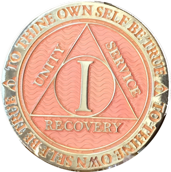 1 Year AA Medallion Reflex Pink Silver Plated Alcoholics Anonymous RecoveryChip Design - RecoveryChip