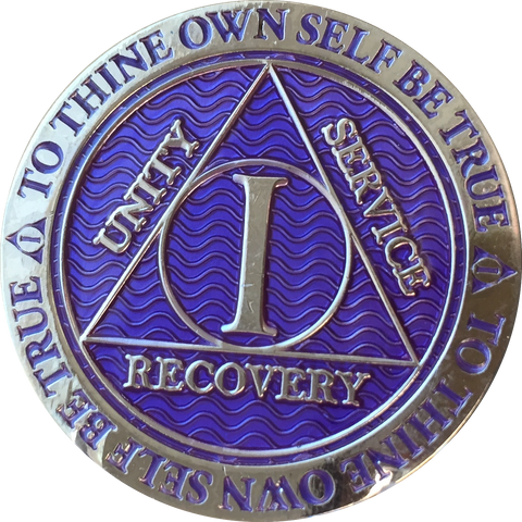 1 Year AA Medallion Reflex Purple Silver Plated Sobriety Chip Coin - RecoveryChip