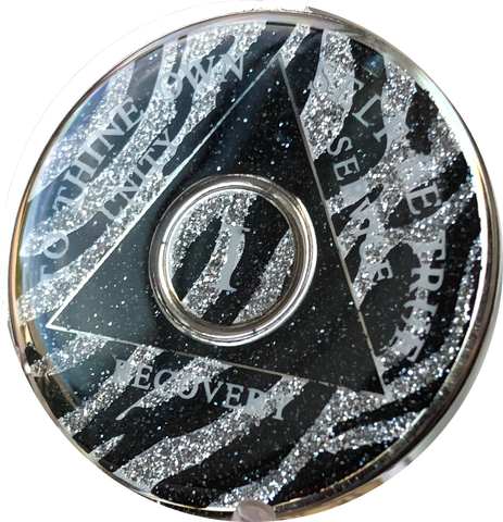 AA Medallion Zebra Animal Print Sobriety Chip Year 1 - 45 Tri-Plate - RecoveryChip