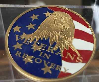 Veterans In Recovery Medallion Chip Coin AA NA Red White Blue Color - RecoveryChip