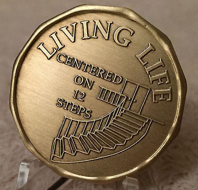 Living Life Centered On 12 Steps Bronze Medallion Chip Celebrate AA Affirmation Coin - RecoveryChip